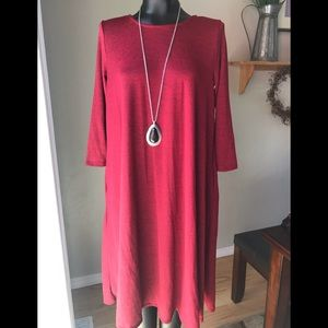 💧Preloved Large Red swing dress with pockets💧